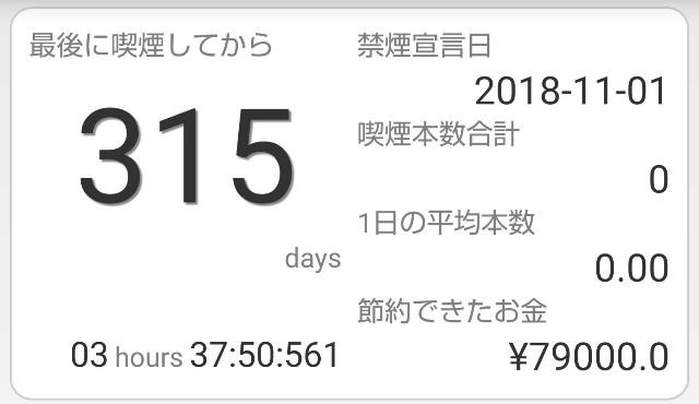 禁煙して315日